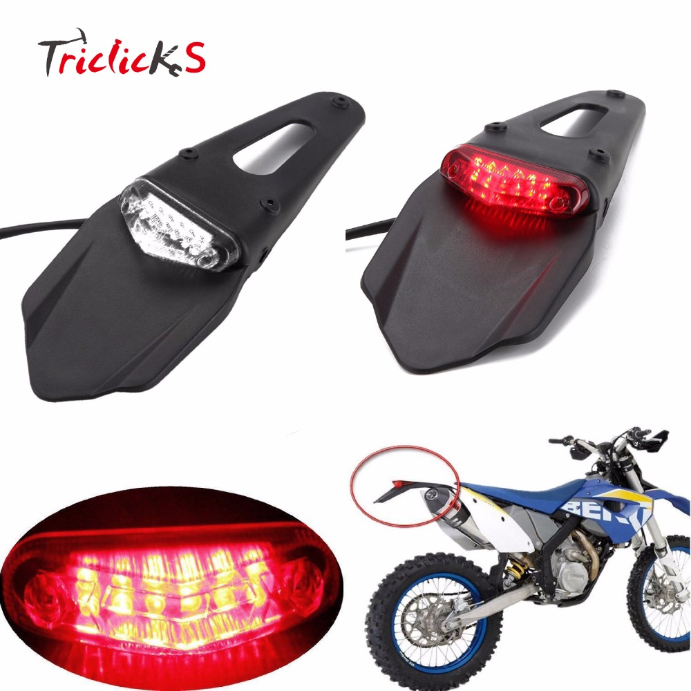 Triclicks 20W Red Clear Motorcycle Enduro Trial Bike Fender 12 LED Brake Stop Rear Tail Light Motorbike Taillights Scooter New