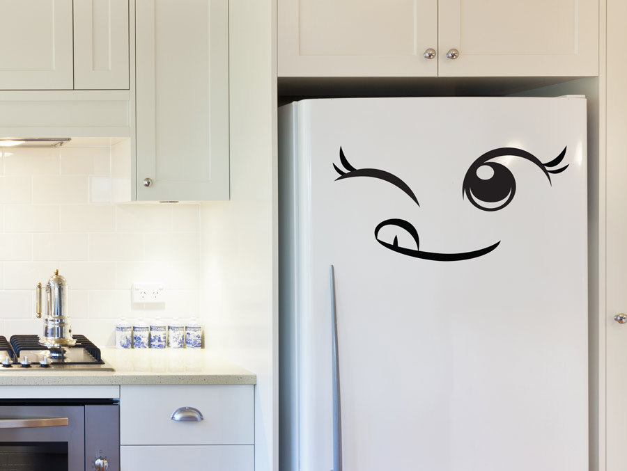 Lovely Cheeky Face Fridge Door Stickers Vinyl Removable