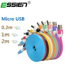 ESSIEN 0.2m/1m/2m Micro USB Charger Cable USB Flat Cable for Samsung Galaxy S7/S6 Note 6/5/4/3 for Xiaomi 1/2/3/4 usb Android