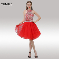 bf1a2539717e8 Red Homecoming Dresses 2017 Ball Gown Halter Beaded Crystal Two Piece Short  Prom Dress 8th Grade