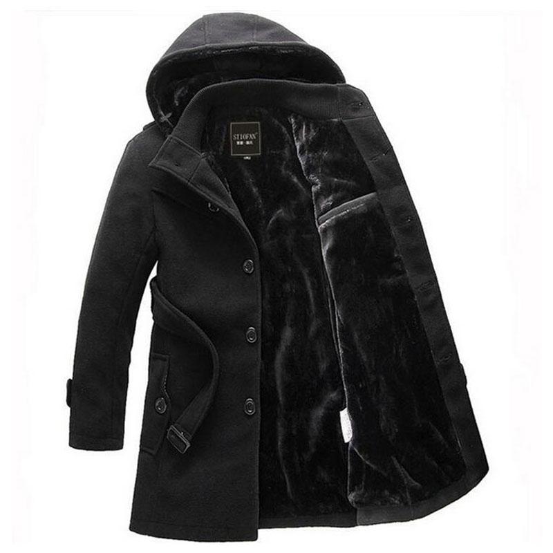 2017 Men Thick Warm Winter   Trench   Coat Long Section Fleece Jacket Overcoat XXXL Turn Down Collar Single Breasted Solid Overcoat