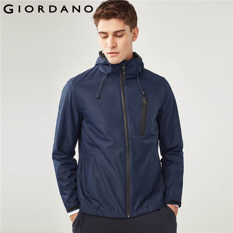 Erkek Kıyafeti'ten Ceketler'de Giordano Erkek Ceket Katı Çok Cep Kapşonlu Ceket Zip Sinek Gizli Cepler Düz Renk Palto Erkek Serin Tarzı Marka Giacca'da  Grup 1