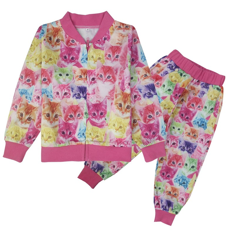 где купить Spring Girls Clothing Costume Kids Tracksuit Girl Cat Full Printed Sport Suit Children School Uniform For Teenagers Clothes Sets по лучшей цене