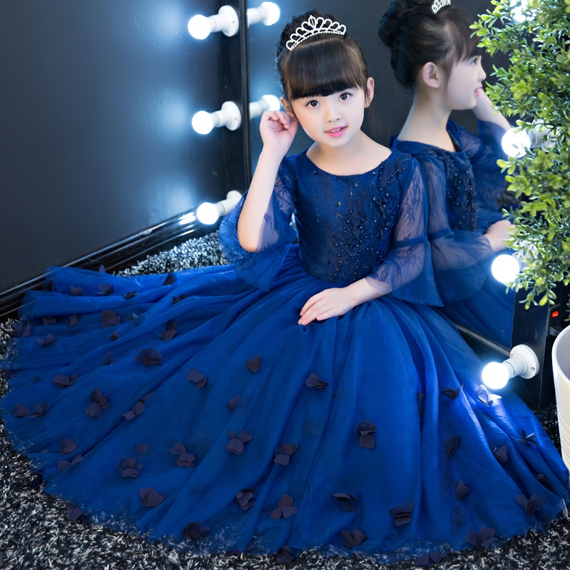 Flare Sleeve Floral Girls Evening Dresses 2018 New Appliques Ball Gown Dress Princess Girl Navy Blue Bending Party Dress JF389Flare Sleeve Floral Girls Evening Dresses 2018 New Appliques Ball Gown Dress Princess Girl Navy Blue Bending Party Dress JF389