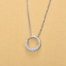 Beautiful Women Jewelry 925 Sterling Silver Full Crystal Circle Round Necklaces For Females Gifts university females