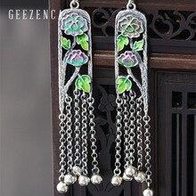 925 Sterling Silver Handmade Craft Cloisonne Drop Earrings UniqueEthnic Vintage Lotus Long Dangle Earring Fine Jewelry for Women недорого