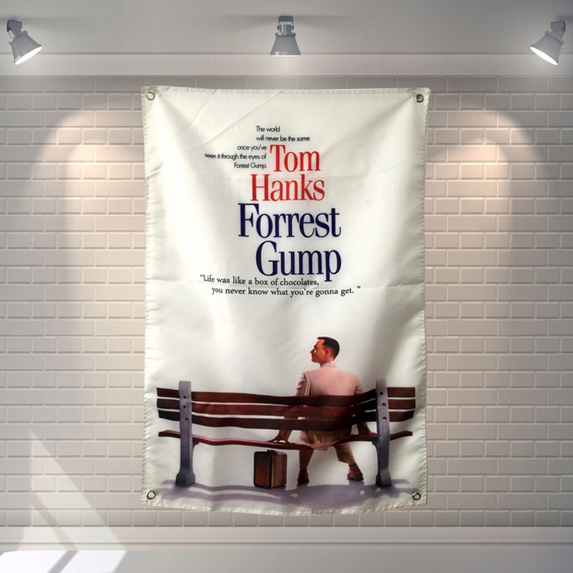 Forrest Gump is biography Classic Movies Cloth Flag Banners & Accessories Bar Billiards Hall Studio Theme Wall Hanging Decor