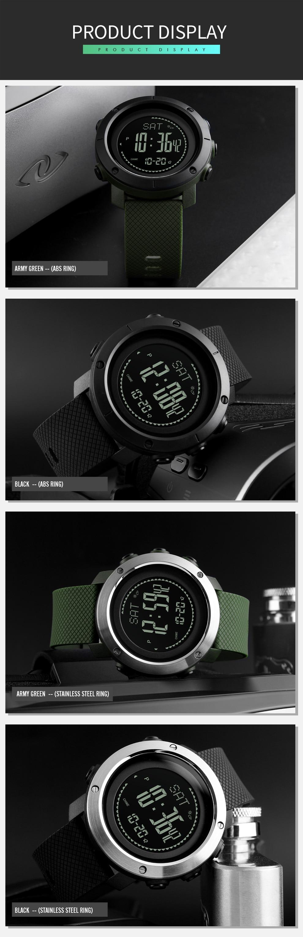 SKMEI Altimeter Barometer Thermometer Altitude Men Digital Watches Sports Clock Climbing Hiking Wristwatch Montre Homme 1418 11