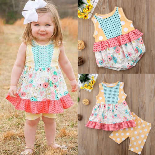 837b1fb1876 FOCUSNORM New Fashion Kids Toddler Baby Girls Clothes Flower Romper Top Dress  Outfits Set Sunsuit