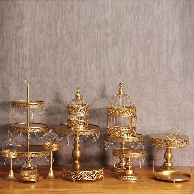 Ensemble de support de gâteau de mariage en or 12 pièces support de cupcake barware décoration outils de gâteau de cuisson ensemble de vaisselle de fête