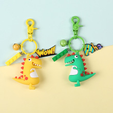 High Quality New Hot Sale Cute Cartoon Keychain Little Dinosaur Animal PVC Keychains Women Bag Charm Key Ring Pendant