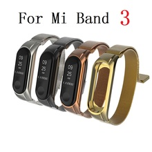 Metal Strap for Xiaomi Mi Band 3 Bracelet Pulseira Screwless Stainless Steel Miband Correa Black Silver Wrist