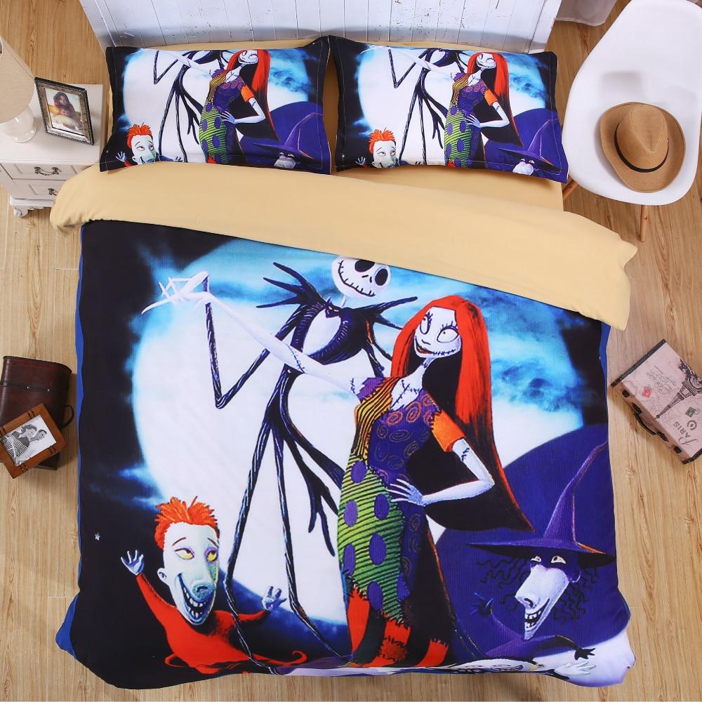 Nightmare Before Christmas Bedding Set Skull 3D Printed Bed Sheet Set Duvet Cover Sets Kids Bedroom Bedclothes Juego de cama
