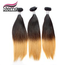 Free Shipping Straight 3pc Ombre 1B & #613 Ombre Hair Extension Weaves Ombre Straight Natural Black+#613 Ombre Hair Extension