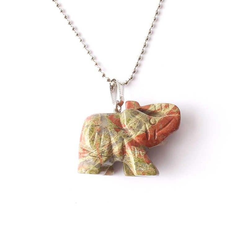 Naturalny kamień naszyjnik wisiorek 36*28mm słoń wisiorek żółty tygrys oko czerwony jaspis Rose Quartz kamień piękna biżuteria