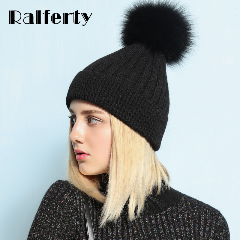 Ralferty Warm Winter Hat For Women Beanie Knitted Rabbit Hats Real Fox Fur Pompom Skullies Pom Pom Cap Ski bonnet femme gorros adult beanie skullies rabbit fur ball shining warm knitted hat autumn winter hats for women