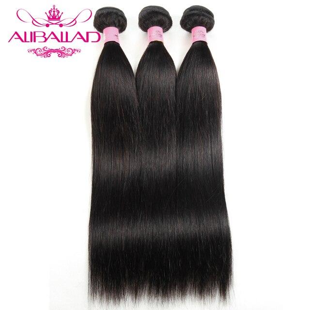 Aliballad ברזילאי ישר שיער Weave 3 חבילות 100% שיער טבעי ללא רמי שיער הרחבות 10 כדי 26 אינץ טבעי צבע אריגה