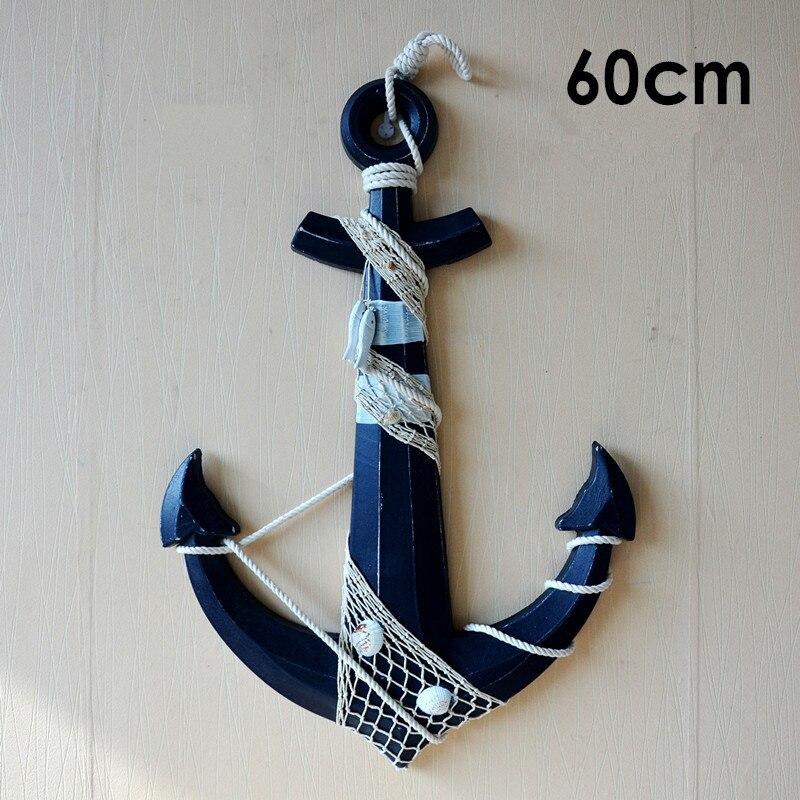 60 cm Bois Anchor Artisanat Méditerranée ancre Nautique En Bois mur ornements bar fond Art Tenture Crochet Décoration