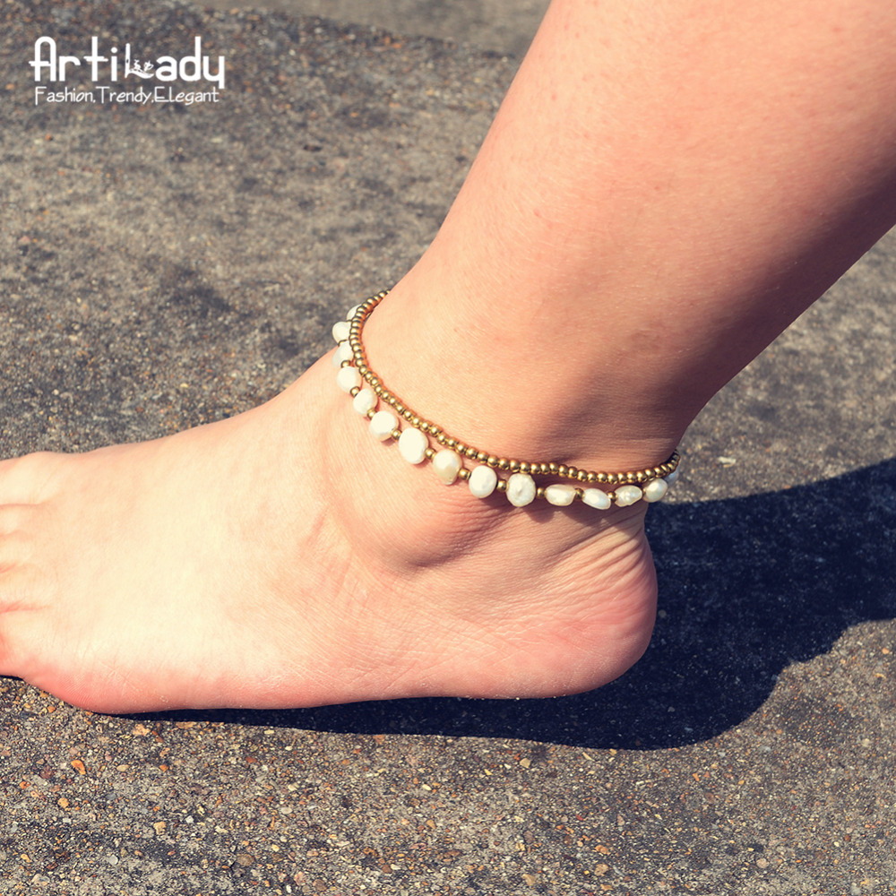 все цены на Artilady pearl anklet for women pearl beads anklet bracelet bohemia foot chain party gift dropshipping