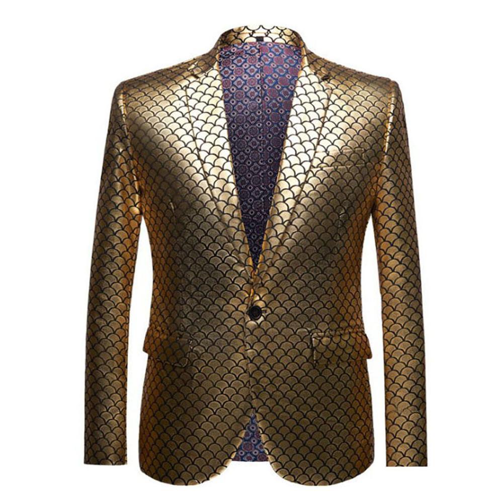 Modèle d'échelle d'or de blazer d'or des hommes, robe mince d'hommes, conception de mode, veste décontracté, costume de mariage