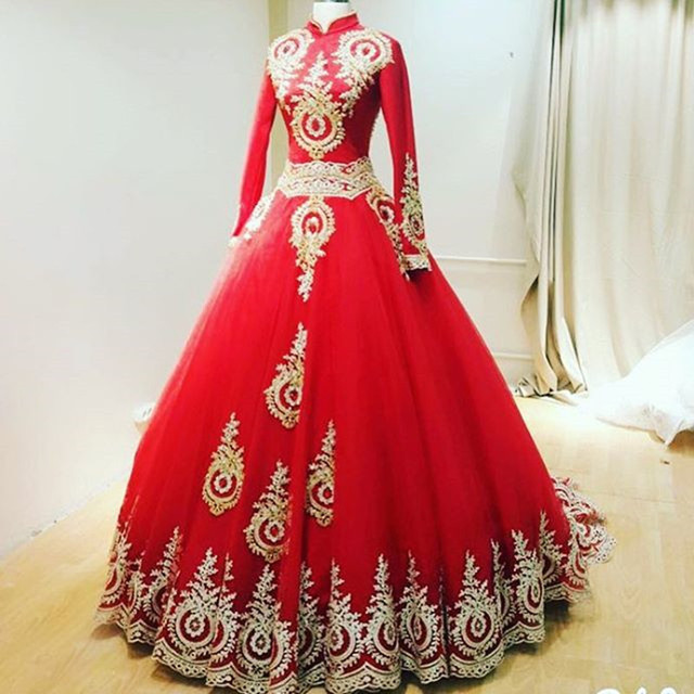 High Neck Long Sleeves Gold Lace Liques Red Ball Gowns Muslim Wedding Dresses Arabic Bridal