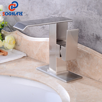 SOGNARE Waterfall Bathroom Basin Faucet Vessel Sink Water Tap Solid Brass With Sink Faucet Hole Cover