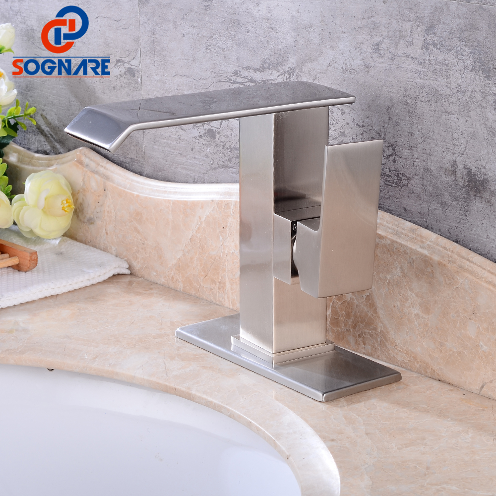 SOGNARE Waterfall Bathroom Basin Faucet Vessel Sink Water Tap Solid Brass with Sink Faucet Hole Cover Deck Plate Escutcheon duzi waterfall water mixer nickel brushed bathroom sink faucet tap cold hot with sink faucet hole cover deck plate escutcheon