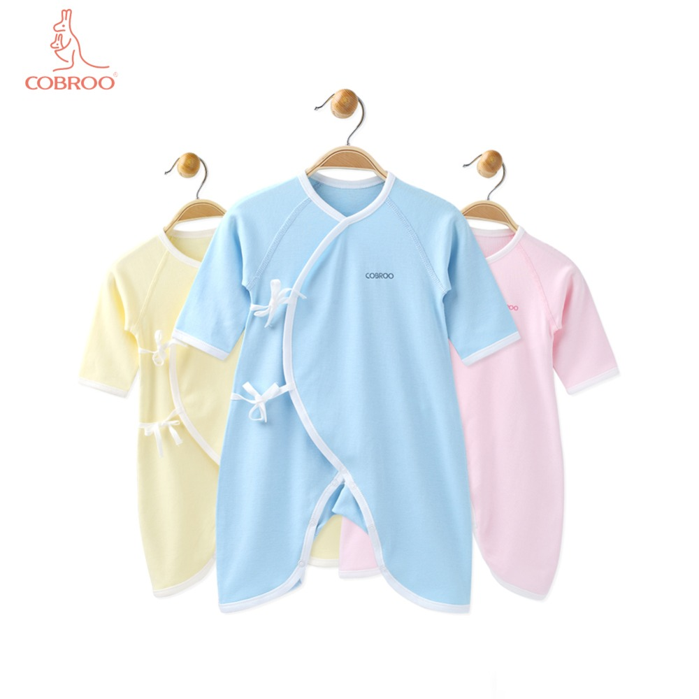 COBROO Baby 100% bawełna Romper z paskiem dekolt w serek z długim - Odzież dla niemowląt - Zdjęcie 1