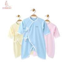 COBROO Baby 100% Cotton Romper with Belt V-Neck Long-Sleeve Girl/Boy One-Pieces for 0-3-6 Months