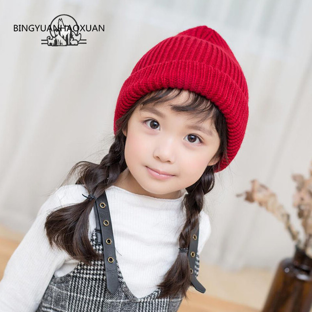 BINGYUANHAOXUAN Cute Baby Girls Boys Kids Children Knitted Wool Hat  2-8Years Kids Warm Winter Beanie Hat Girls Hats e9fc7dd9d53