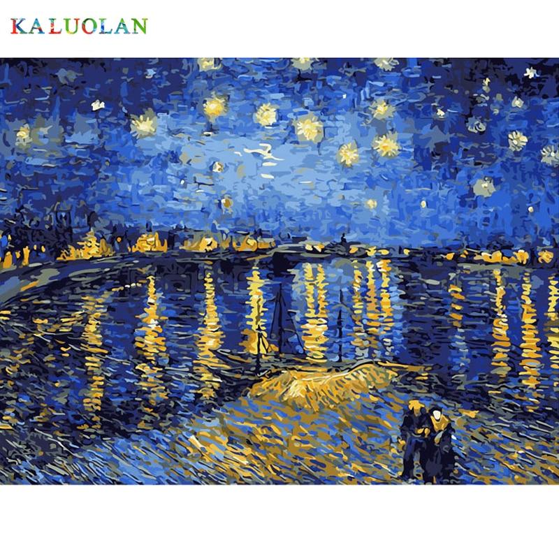 Mejores Fotos DIY digitaces pintura de la pintura por números Navidad cumpleaños regalo único Van Gogh cielo estrellado de Rhone río