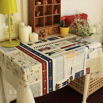 Free Shipping!British Style Table Cloth Vintage Print Abric Table Cloth Cotton Tea Table Cover Piano Dust Cloth House Deco