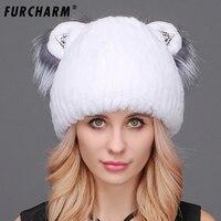 Chapéu forrado a pele Feminina Inverno Real Rex Rabbit Fur Caps com Bonito Orelhas de gato de Boa Qualidade Casual Mulheres Malha Beanie Chapéu Orelhas de Gato