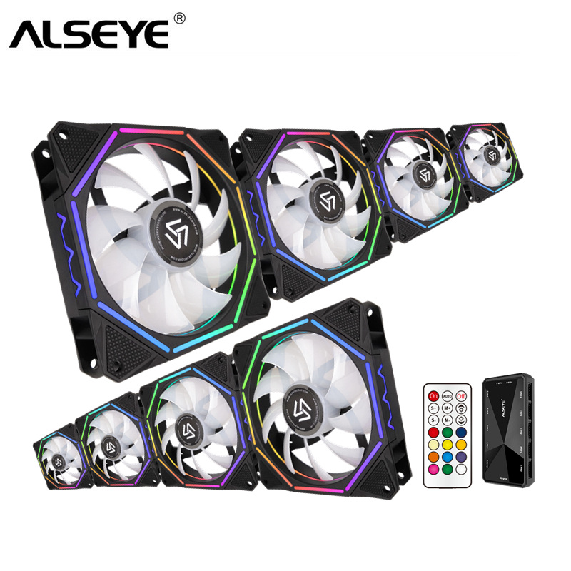 US $8 99 37% OFF|ALSEYE 120mm PC Fan Cooler Computer RGB Fan with RF Remote  Control Fan Speed Control-in Fans & Cooling from Computer & Office on
