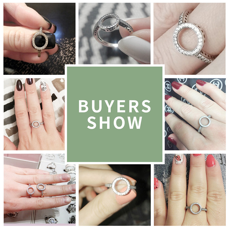 100% Genuine 925 Sterling Silver CZ Circle Rings