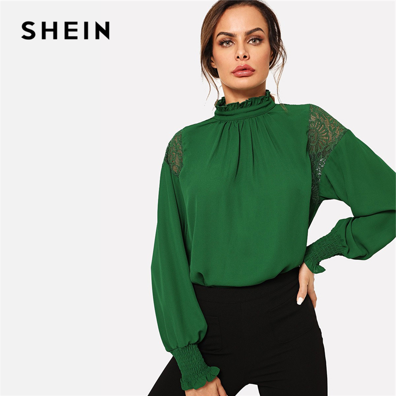 ef64e8931e Detail Feedback Questions about SHEIN Green Minimalist Office Lady Solid  Sheer Lace Insert Button Flowy Long Sleeve Blouse Autumn Workwear Women  Tops And ...