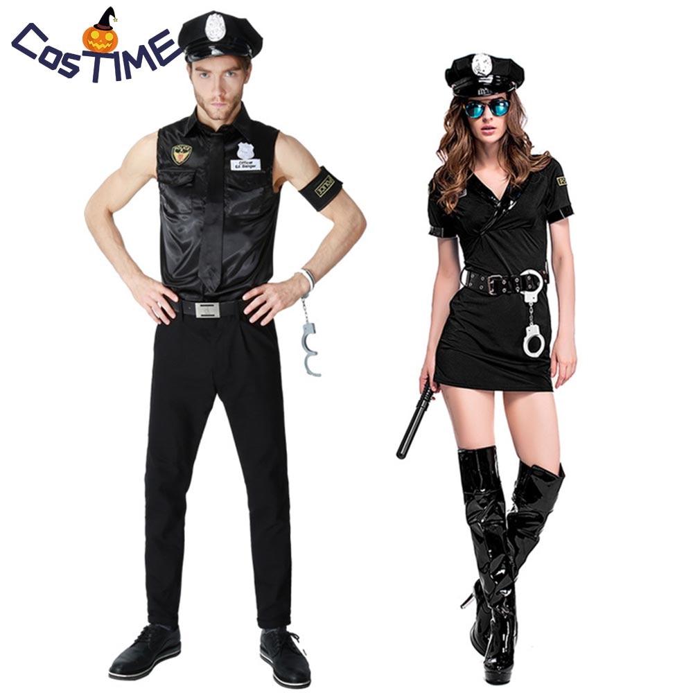 Police Woman Costume Adult Cop Halloween Fancy Dress