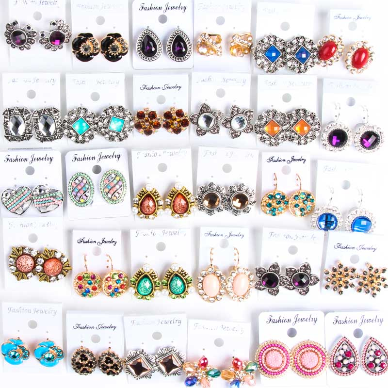 Hot Mix Style 12pairs Fashion Trend Alloy Earrings Wholesale Jewelry Batch (multicolor)