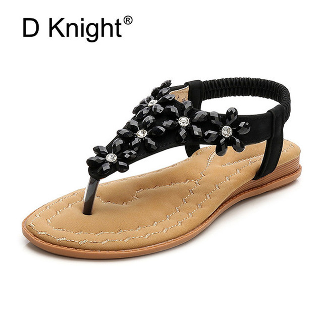 f3d1c28341fb Rhinestone Flowers Summer Shoes PU Women Sandals Boho Lady Flip Flop Beach  Sandal shoes Elastic Band Platform Shoes Big Size 42