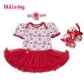 Floco de neve 2016 do bebê infantil roupas de menina vermelho tutu dress plissado de manga curta roupas para o natal 3 pcs recém-nascidos roupa 0-dois anos