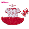 Snowflake 2016 Infant Baby Girl Clothes Red Short Sleeve Clothing For Christmas tutu Dress Ruffle 3Pcs Newborn Clothes 0-2years
