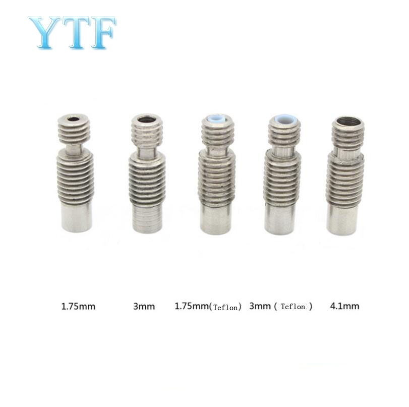 3D Printers Parts  Stainless Steel V6 Throat Bowden Teflon Tube Long Thread For 1.75 Mm 3mm Filament Full Metal Part Bore 4.1mm