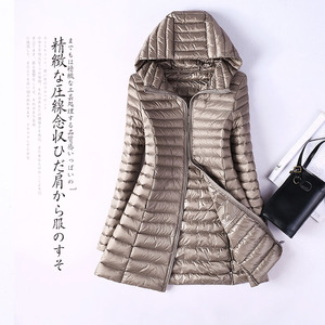 Image 5 - 2020 automne veste femmes canard vers le bas mince longue Parkas dames chaud manteau à capuche grande taille 5XL 6XL Ultra léger hiver intérieur manteaux