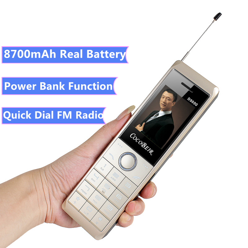 Retro cellular Phone D9000 8700mAh super huge battery Powe bank telephone Dual strong Flashlight FM radio