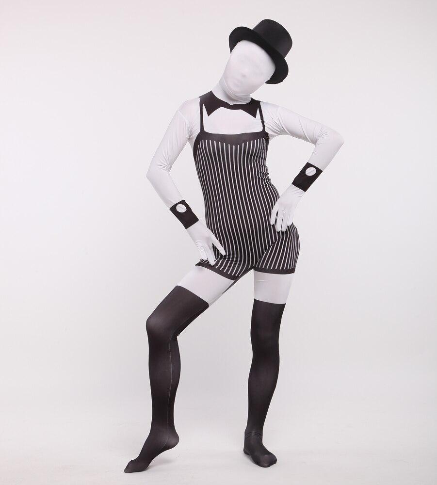 (PHC006) Manches Longues Blanc et Noir Full Body Serveur Zentai Costume Halloween Costume Pour Partie Dressing