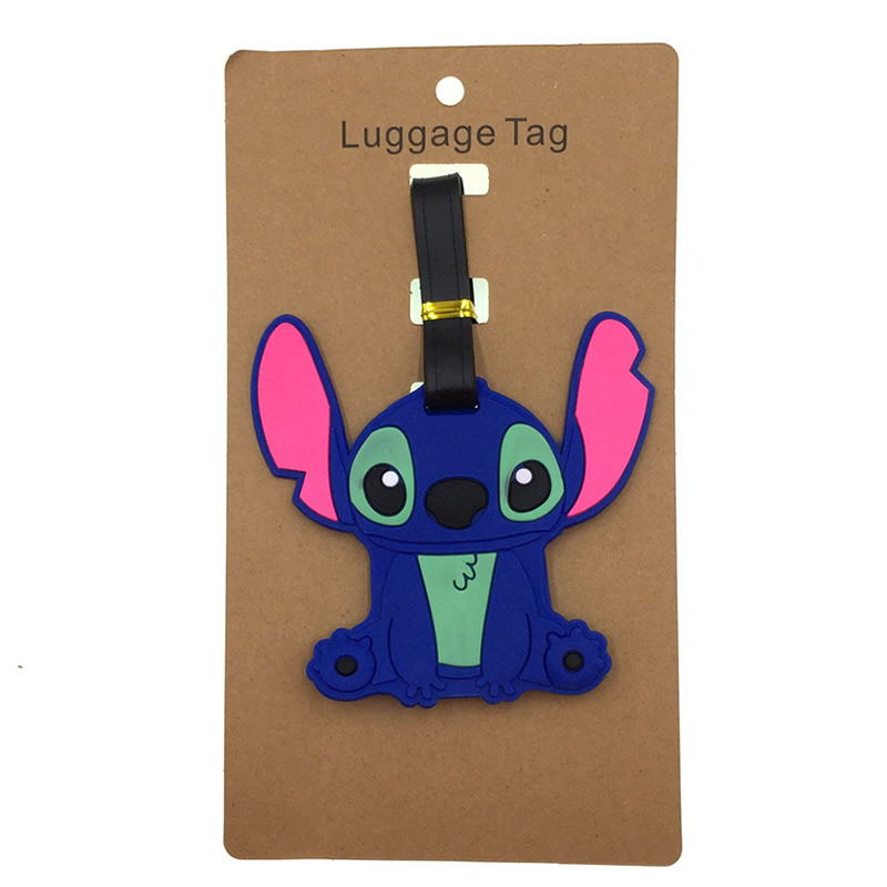 Cartoon Stitch Luggage Tags Silica Gel Suitcase Kawaii Accessories ID Addres Holder Baggage Boarding Portable Travel Women