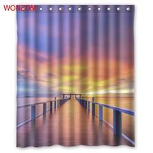 WONZOM 3D Beautiful Bridge Shower Curtains with 12 Hooks For Bathroom Decor Modern Landscape Bath Waterproof Curtain Gift