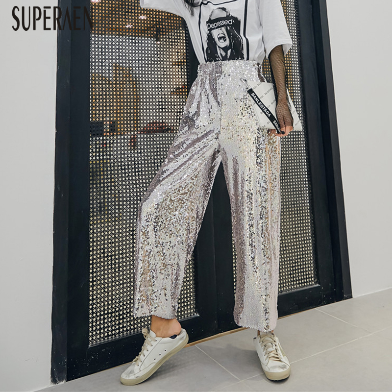 SuperAen Silver Sequins Ankle-length Pants Women New 2019 Spring and Autumn High Waist Wild Loose Wide Leg Pants Casual Pants