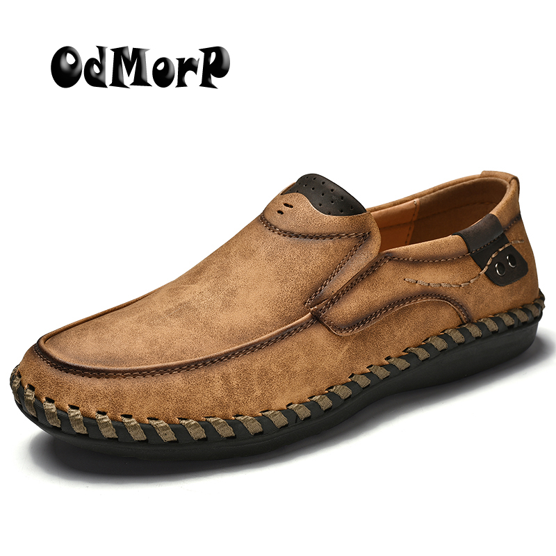 ODMORP New Handmade Men Shoes Big Size 38-46 High Quality Slip-On Loafers Casual Shoes Men Fashion Design Spring Footwear gram epos men casual shoes top quality men high top shoes fashion breathable hip hop shoes men red black white chaussure hommre