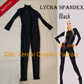 Free Shipping DHL Cheap Sexy Black Unisex Lycra Suit Spandex Zentai Catsuit Halloween Costume Front Zipper LC1429 Dropship